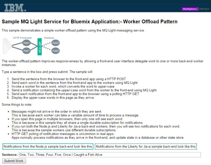 sample screenshot Microservices in Bluemix