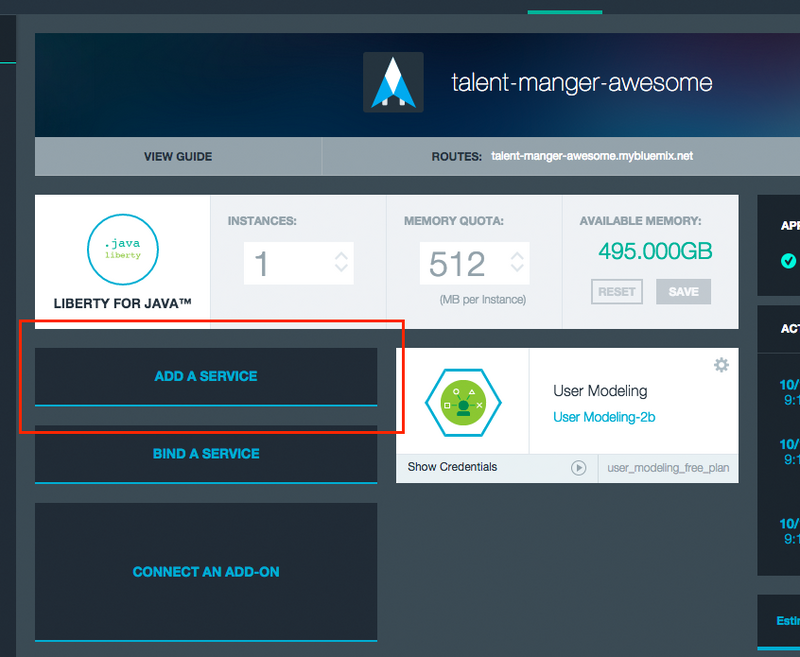 addserviceagain Building a Java EE app on IBM Bluemix Using Watson and Cloudant