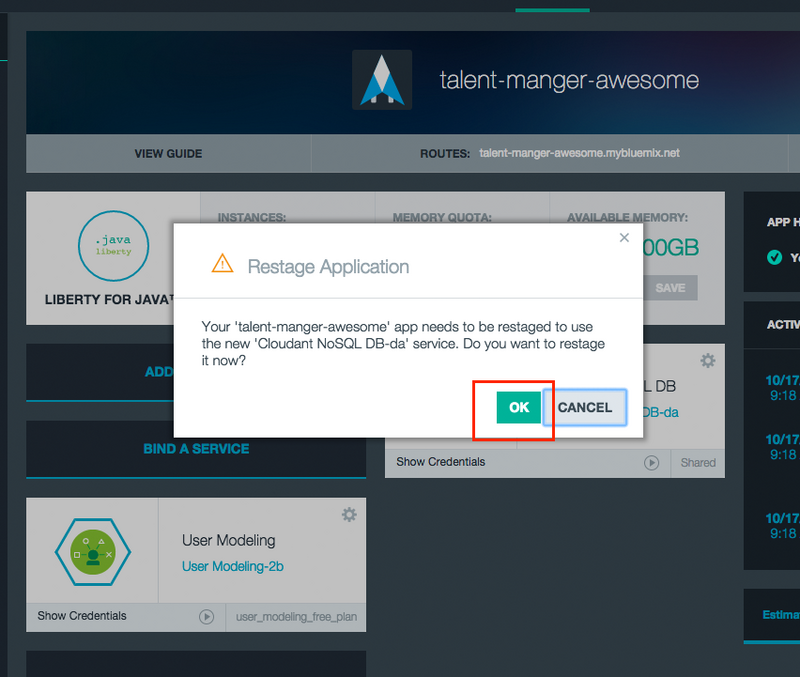cloudantrestage Building a Java EE app on IBM Bluemix Using Watson and Cloudant