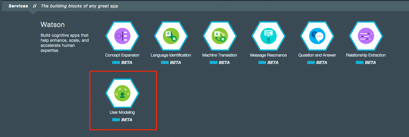 user modeling 1024x342 Building a Java EE app on IBM Bluemix Using Watson and Cloudant