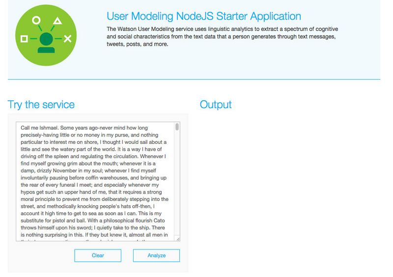 usermodelingapp How Watson and Bluemix see the State of the Union